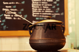 Iron Cauldron in a Traditional Restautant
