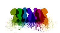 row of people illustration, head silhouettes  in many colors with paint splashes -