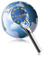 Globe Europe With Magnifying Glass