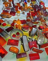 Orange und rote gebrauchte Abdeckungen für KFZ-Lichter