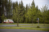 Empty Camping during coronavirus. Family vacation travel RV, holiday trip in motorhome