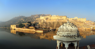 panorama - fort and lake in Jaipur India