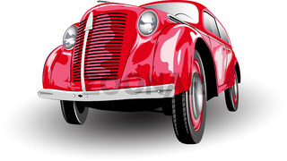 Color image of an old red car