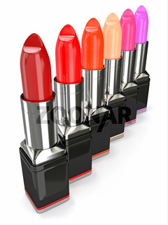 Row of lipsticks on white background. Three-dimensional image.