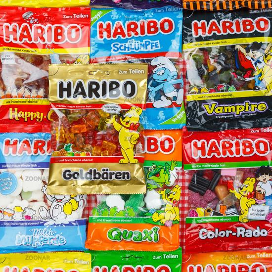 Haribo Gummibärchen Gummibären verschiedene Sorten Hintergrund quadratisch