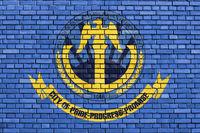 flag of Westland, Michigan painted on brick wall