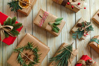 The wonderful Christmas presents wrapped in kraft paper with copy space