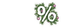 Christmas White Percent Green Twigs Pink Baubles Header