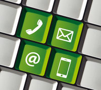 Contact Icons on Computer Keyboard Phone Email Mobile