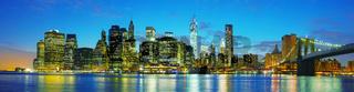 New York City cityscape panorama at sunset
