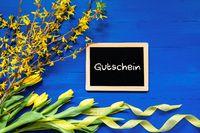 Spring Flowers Decoration, Branch, Blackboard, Gutschein Means Voucher