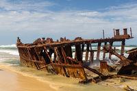 The shipwreck S.S. Maheno on Fraser Island in Queensland, Australia