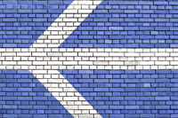 flag of Lawrence, Massachusetts painted on brick wall