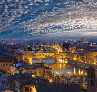 Night Florence top view, Italy