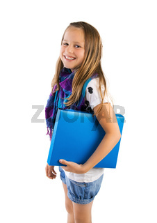 school girl with blue folder