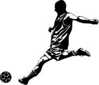 Black and white image of a soccer player kicking the ball