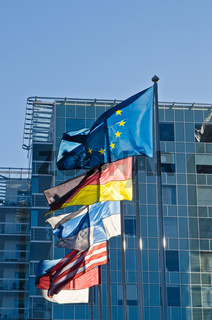 Fluttering flags of the countries of the European Union