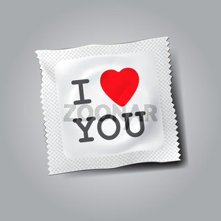 Condom with text I love you