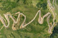 Winding road passing through mountain