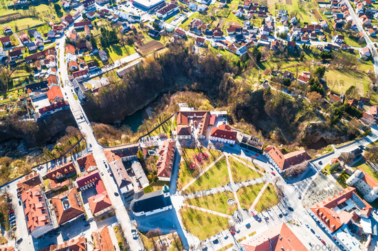 Town of Ogulin and Dobra river canyon aerial panoramic view