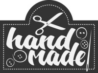 HANDMADE logo or label with scissors and needle and thread