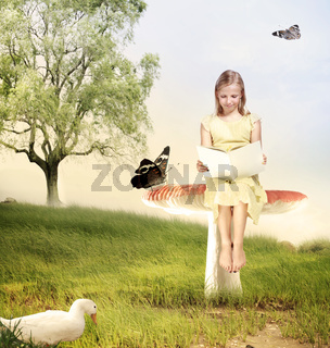 Girl Reading a Book on Mushroom