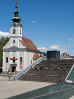 Parish Church of Urfahr and Forecourt and Stairs of the Ars Electronica Center - Linz