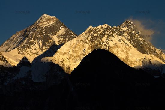 Mount Everest, Nuptse and Lhotse seen from Gokyo Ri at sunset