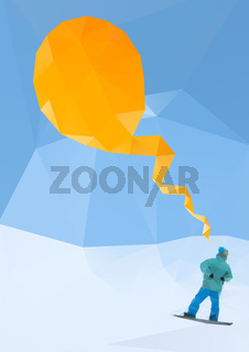 snowboarder on mountains, vector