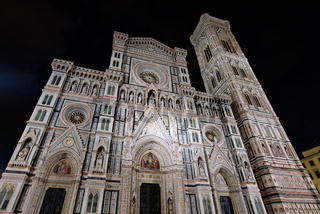 Night view of Cathedral of Saint Mary of the Flower (Duomo di Firenze) and Giotto's Campanile in Florence , Italy