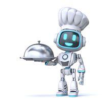Cute blue robot holding serving cloche 3D