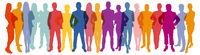 Panorama aus Silhouetten von Menschen als Business Teamwork Konzept