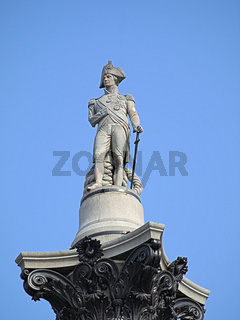 The statue to commemorate the life of Admiral Lord Nelson in Trafalgar Square