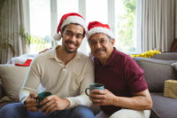 Portrait of happy biracial adult son and senior father in santa hats making christmas video call