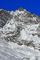 Schneebedeckter Gipfel Lenzspitze, Mischabelhörner, Saas-Fee, Wallis, Schweiz