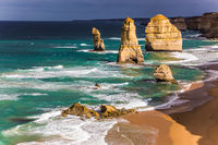 Rocks Twelve Apostles in ocean surf