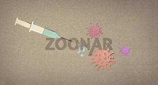 Impfung Spritze Virus - Scherenschnitt