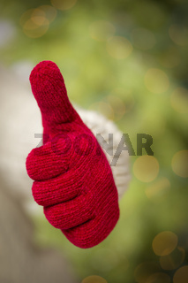 Woman Wearing Red Mittens Holding Out Thumbs Up Hand Sign
