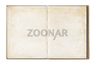 Vintage blank open notebook