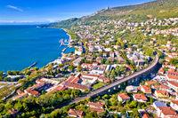 Aerial view of Trieste coastline view