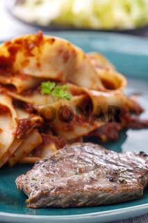 Tagliatelli Pasta mit Steak