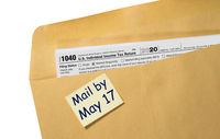 Tax Day reminder for May 17 on envelope for filing returns for 2020