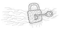 Cyber attack low poly art. Polygonal vector illustration of a key unlocks a lock.
