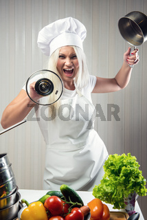 Angry and stressed out woman cook