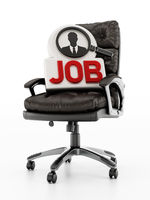 Black leather office chair with job text and businessman symbol. 3D illustration