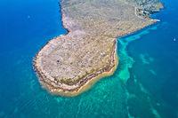 Stone desert island of Zecevo aerial view