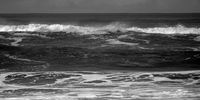 ocean shore in black and white