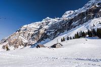 Alpenpanorama auf der Schwägalp mit Säntis im Winter, Kanton Appenzell-Ausserrhoden, Schweiz