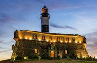 Image of the Farol da Barra lighthouse during sunset
