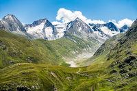 Blick von der Breslauer Hütte Richtung Selkogel, Sennkogel, Kreuzkogel und Kreuzkamm, Ötztal, Tirol